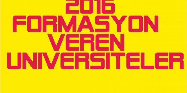 2016 Yaz Döneminde Formasyon Veren Üniversiteler