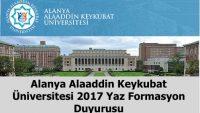 Alaaddin Keykubat Üniversitesi 2017 Yaz Formasyon Duyurusu