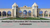 Dumlupınar Üniversitesi 2017 Formasyon Duyurusu