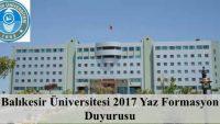 Balıkesir Üniversitesi 2017 Yaz Formasyon Duyurusu Yayımlanmıştır